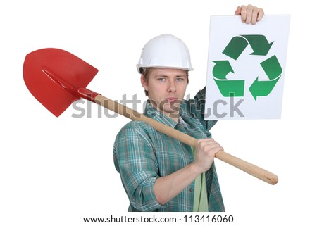 Man promoting environmental awareness - stock photo