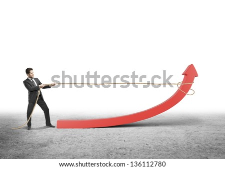 man pulling a rope red arrow - stock photo