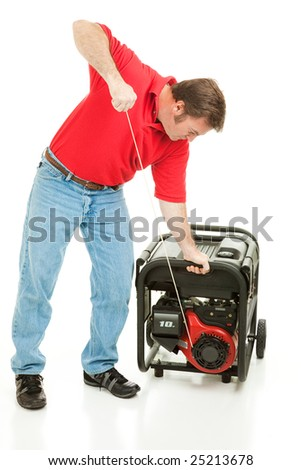 Man pulling the cord to start his 10 horsepower gas generator.  Isolated on white. - stock photo