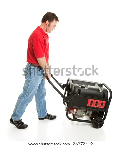 Man pushing a portable electric generator.  Full body isolated on white. - stock photo