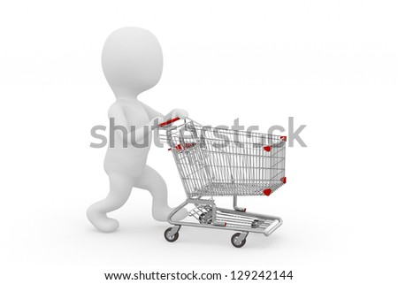 Man pushing a shopping cart empty - stock photo