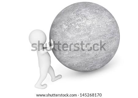 Man pushing sphere as Sisyphus on a white background - stock photo
