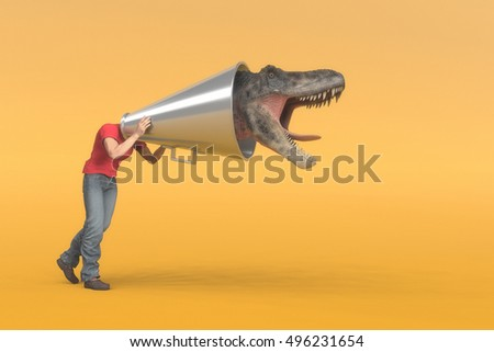 Man puts his head into a megaphone and at the end it comes out a dinosaur head screaming. This is a 3d render illustration