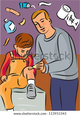 Man putting cream on child's knee injury, with first aid items in background