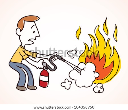 Man putting out a fire - stock photo