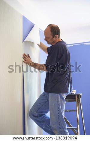 man putting up wallpaper - stock photo