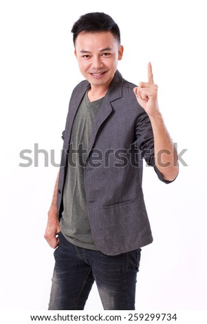 man raising, showing 1 finger, pointing up - stock photo