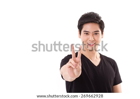 man raising, showing 2 finger, victory hand sign - stock photo