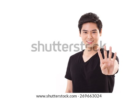 man raising, showing 4 fingers hand sign gesture - stock photo