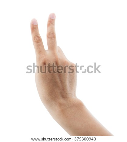 man raising two fingers up on hand it is shows peace strength fight or victory symbol and letter V in sign language on white background, clipping part