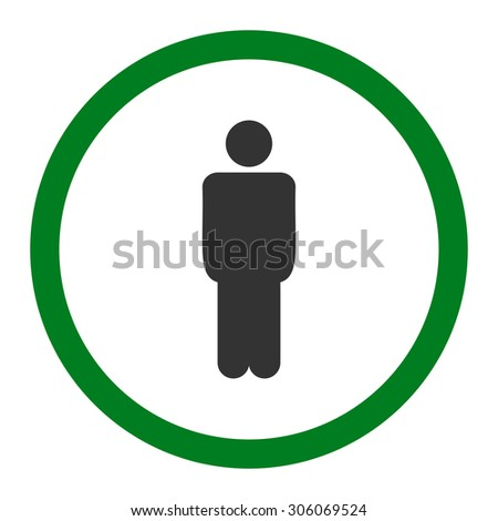 Man raster icon. This rounded flat symbol is drawn with green and gray colors on a white background.