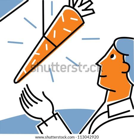 Man reaching for dangling carrot - stock photo
