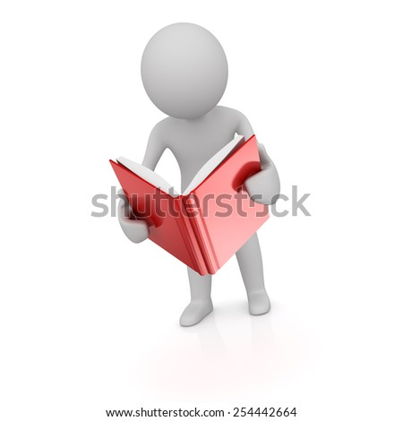 Man Read the Book , computer generated image. 3d rendere image. - stock photo