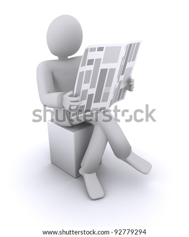 man reading a newspaper while sitting on a chair, crossed his legs