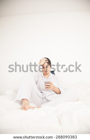 Man reading by phone