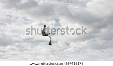 Man reading in isolation - stock photo