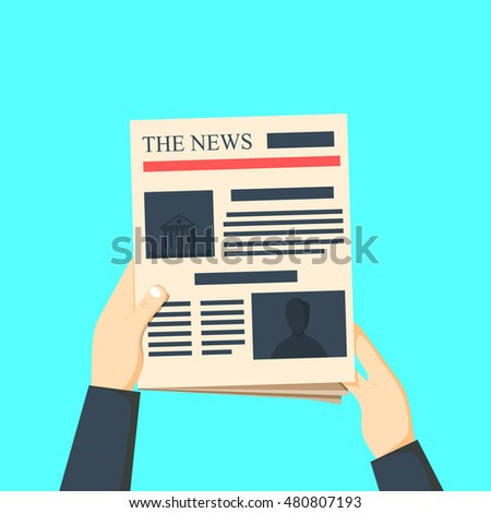 Man reading newspaper. News paper with hands in flat style illustration
