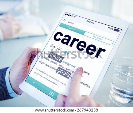 Man Reading the Definition of Career - stock photo