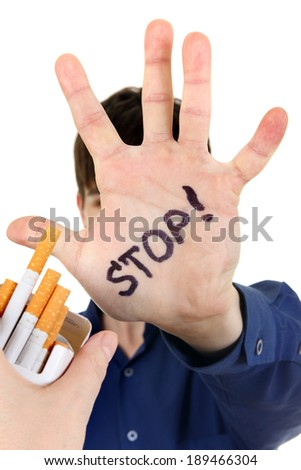 Man refuses Cigarette Isolated on the White Background