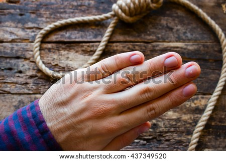 man refuses to suicide - stock photo