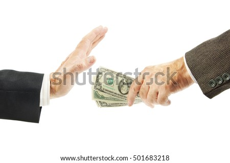 Man refuses to take the bribe. Concept of the fight against corruption