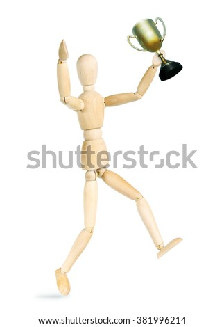 Man rejoices victory. Abstract image with a wooden puppet - stock photo