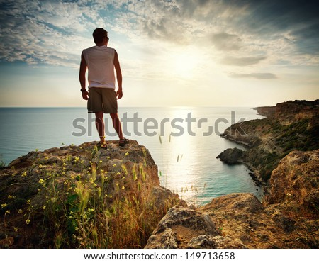 Man relax on sea. Conceptual scene. - stock photo