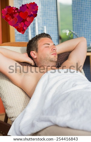 Man relaxing at the spa against heart