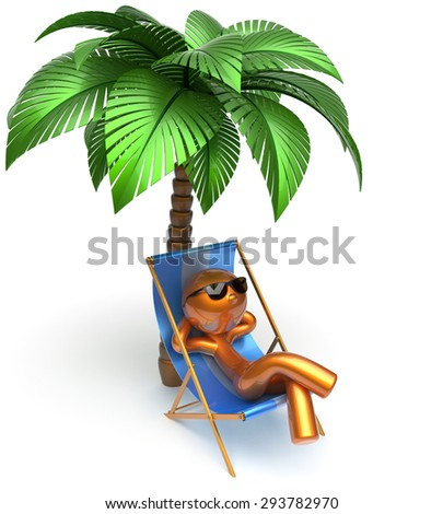 Man relaxing cartoon character chilling beach deck chair palm tree sunglasses summer comfort stylized golden person sun lounger chaise lounge tourist sunbathing rest vacation harmony icon 3d render - stock photo