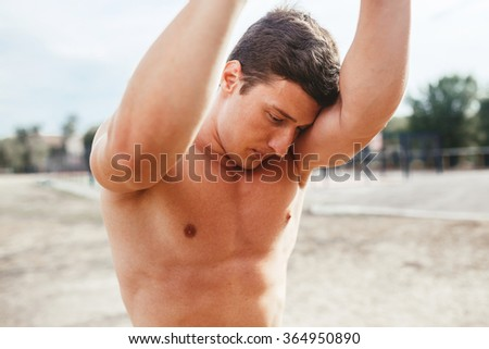 man resting at a shell