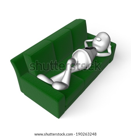 man resting on a big green couch - stock photo