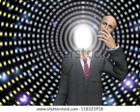 Man reveals his glowing interior when face is removed - stock photo
