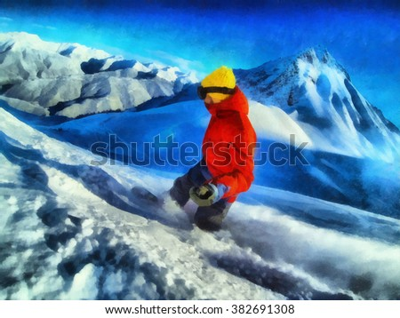 Man rides on a snowboard, among the blue mountains.  Winter resort, snow mountains.