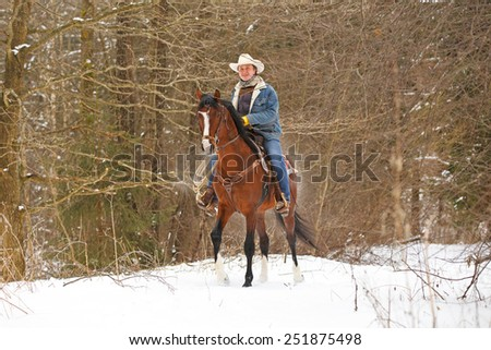Man riding a bay horse in winter forest. - stock photo