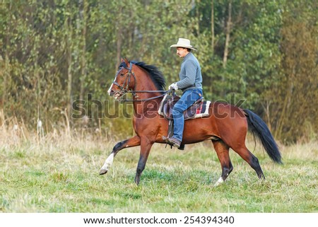 Man riding a horse in autumn landscape. - stock photo