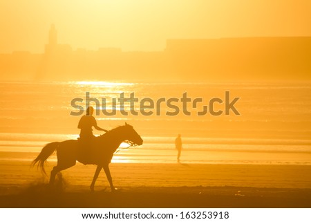 Man riding horse on the beach at sunset. - stock photo