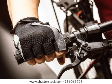 Man riding on a bicycle - stock photo
