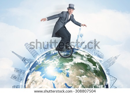 Man riding unicycle around the globe with major cities concept - stock photo
