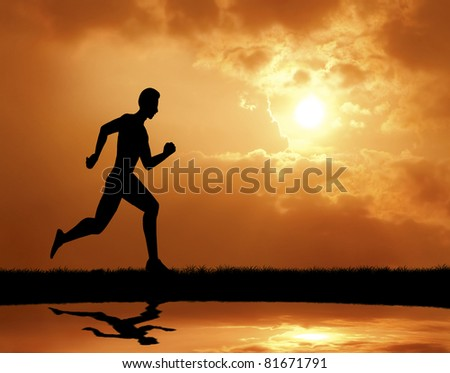 man run at sunset silhouetted