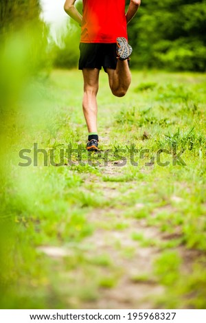 Man runner cross country running on trail in summer forest. Young athlete male training and doing workout outdoors in nature. Jogging workout fitness concept.