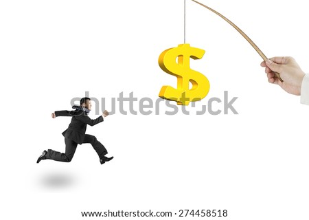 Man running after 3D golden dollar sign bait on fishing rod hand holding, isolated on white background - stock photo