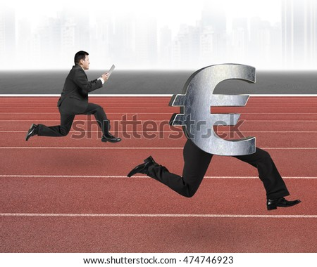 Man running after Euro money symbol with human legs on red track.