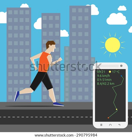 Man running his own personal marathon in the city and smartphone showing time, air temperature, speed and distance - stock photo