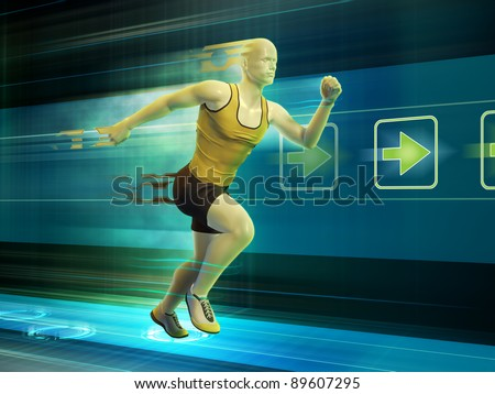 Man running in a virtual reality tunnel. Digital illustration.