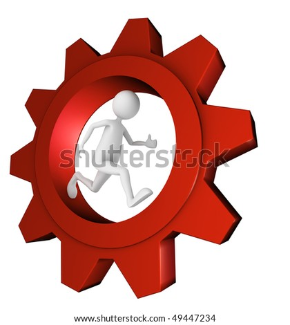 Man running in shiny metal red gear; great for work, progress and technology concepts. - stock photo