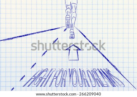 """man running on a road with directions to """"fight for your dreams"""", concept of success - stock photo"""