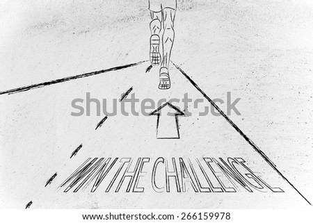 "man running on a road with directions to ""win the challenge"", concept of success - stock photo"