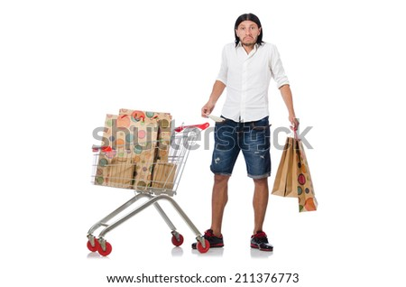 Man running out of money in the supermarket