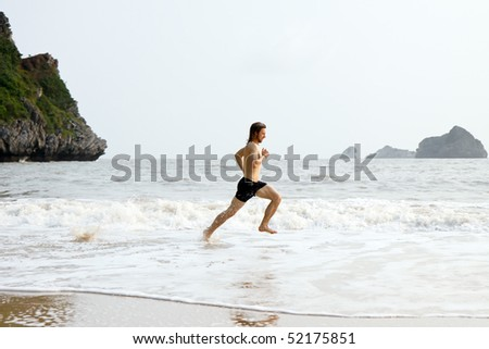 Man running through the water