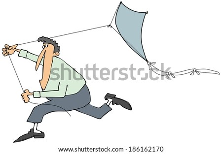 Man running with a kite - stock photo